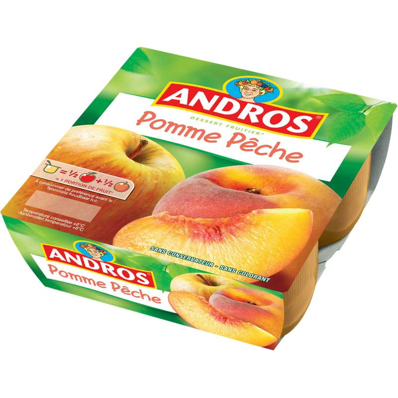 Compote pomme/pêche, Andros (4 x 100 g)
