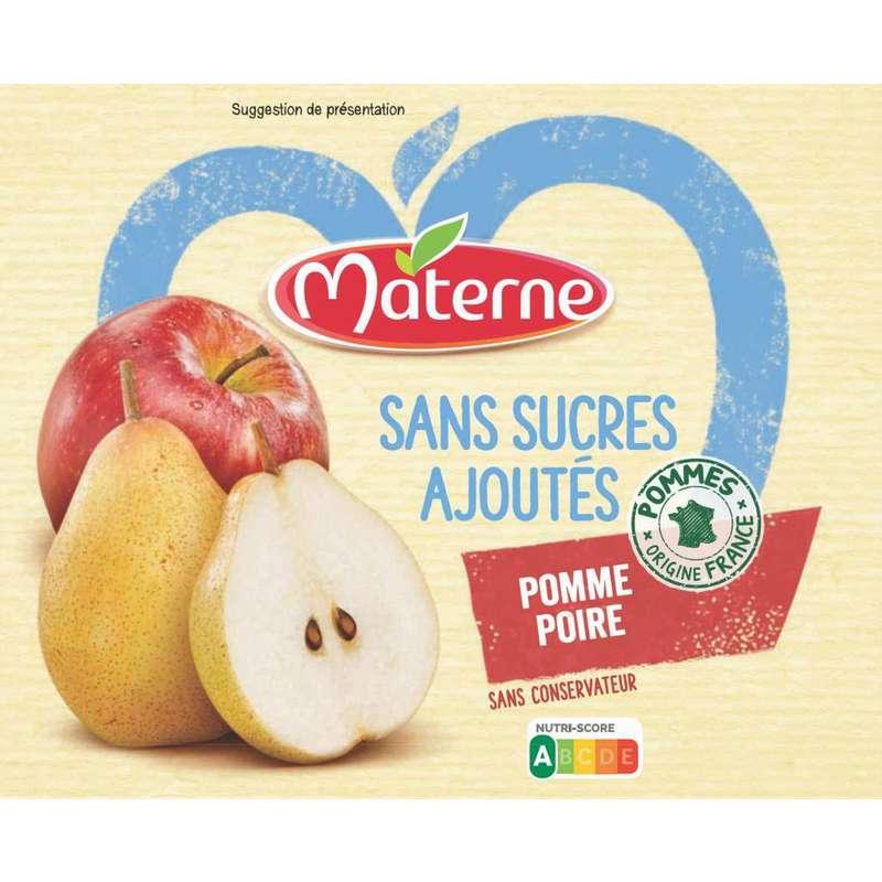 Compote pomme poire sans sucre ajouté, Materne (4 x 100g)