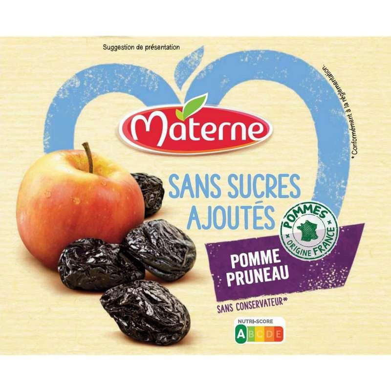 Compote pomme pruneau sans sucre ajouté, Materne (4 x 100 g)
