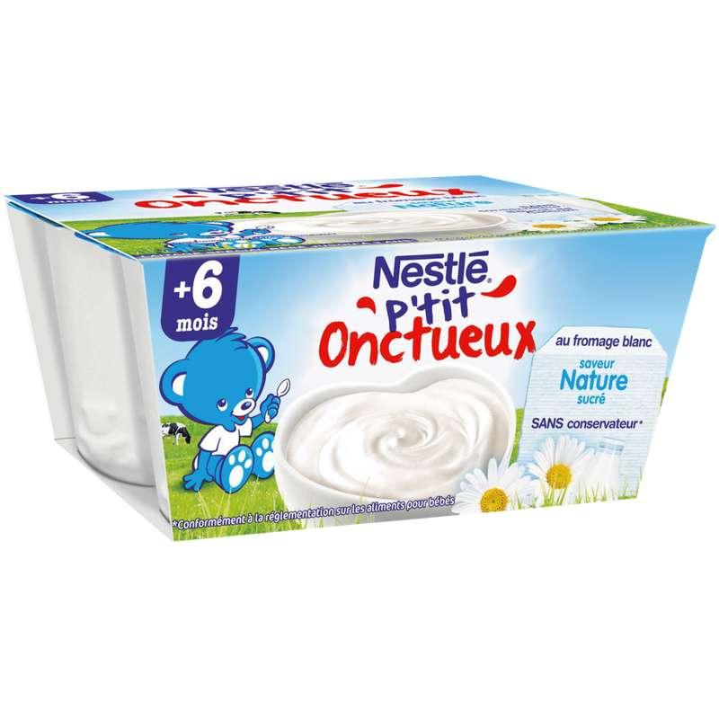 P'tit Onctueux au fromage blanc nature - dès 6 mois, Nestlé (4 x 100 g)