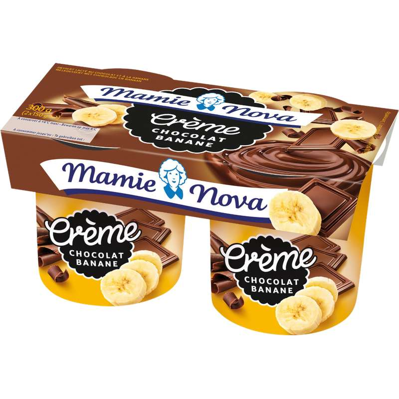 Crème dessert Chocolat Banane, Mamie Nova (2 x 150 g)