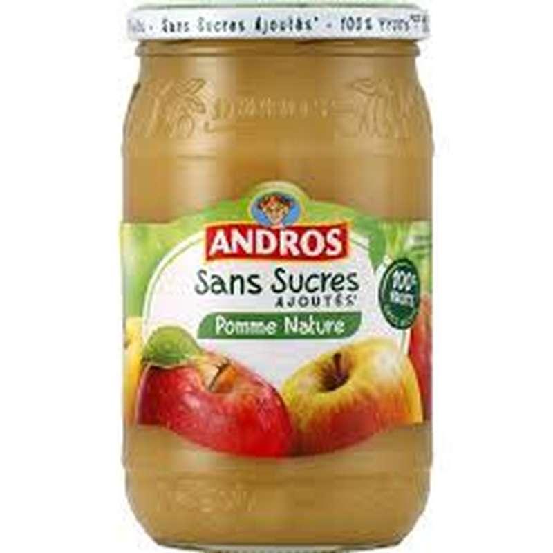 Compote pomme nature sans sucres ajoutés, Andros (730 g)