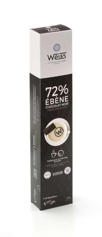 Napolitains Ebène 72%, Weiss (x 40, 180 g)