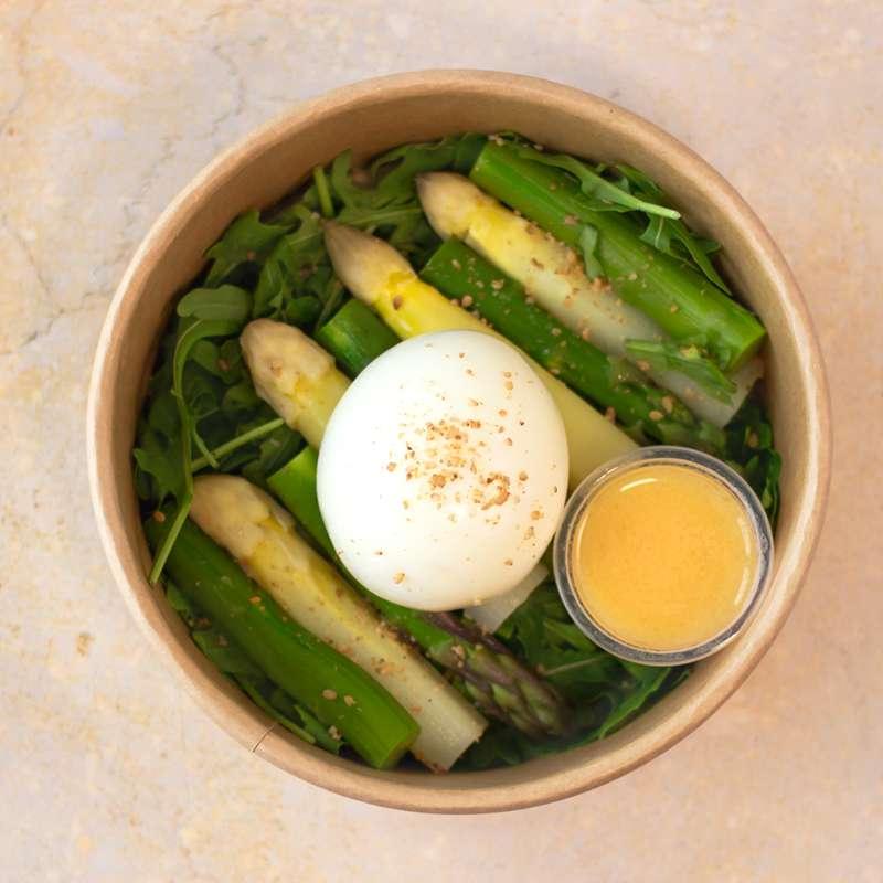 Duo d'asperges, oeuf mollet BIO, gomasio et vinaigrette aux agrumes (200 g)