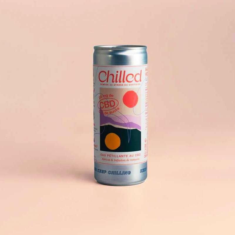 Eau pétillante au CBD infusé à l'abricot et au romarin, Chilled (250 ml)