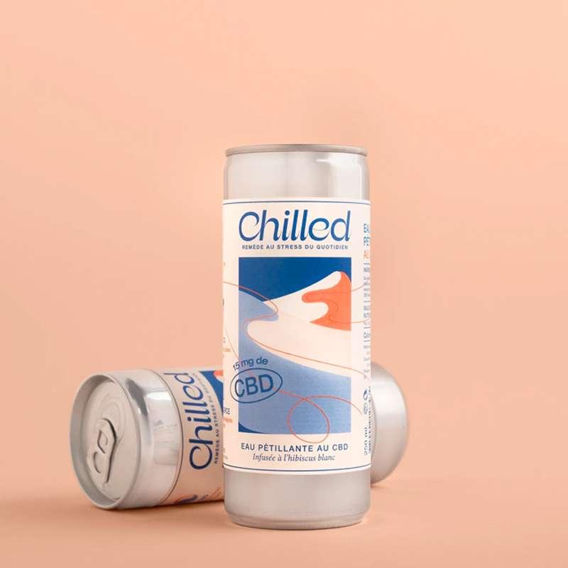 Eau pétillante au CBD infusé à l'hibiscus blanc, Chilled (250 ml)