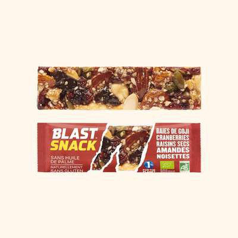 Echantillon gratuit barre Baies de Goji, Cranberries et Amandes BIO, Blast Snack (full size, 40 g)