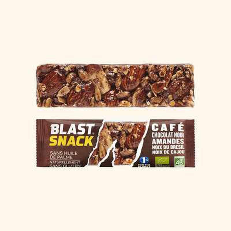 Echantillon gratuit barre Café, Chocolat Noir, Amandes et Noix BIO, Blast Snack (full size, 40 g)