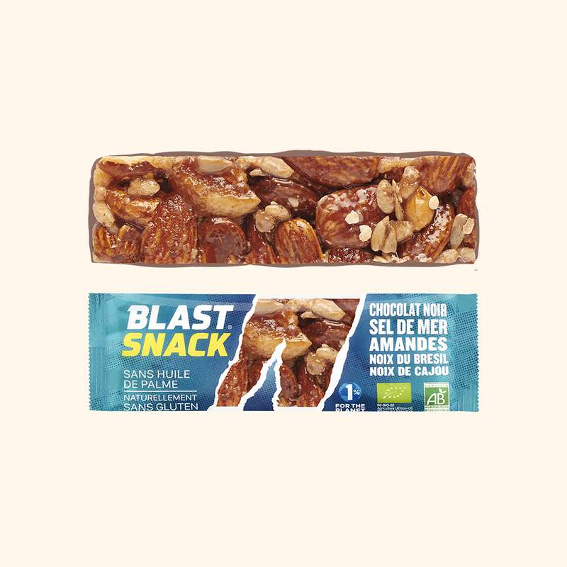 Echantillon gratuit barre Chocolat Noir, Amandes et sel de Mer BIO, Blast Snack (full size, 40 g)