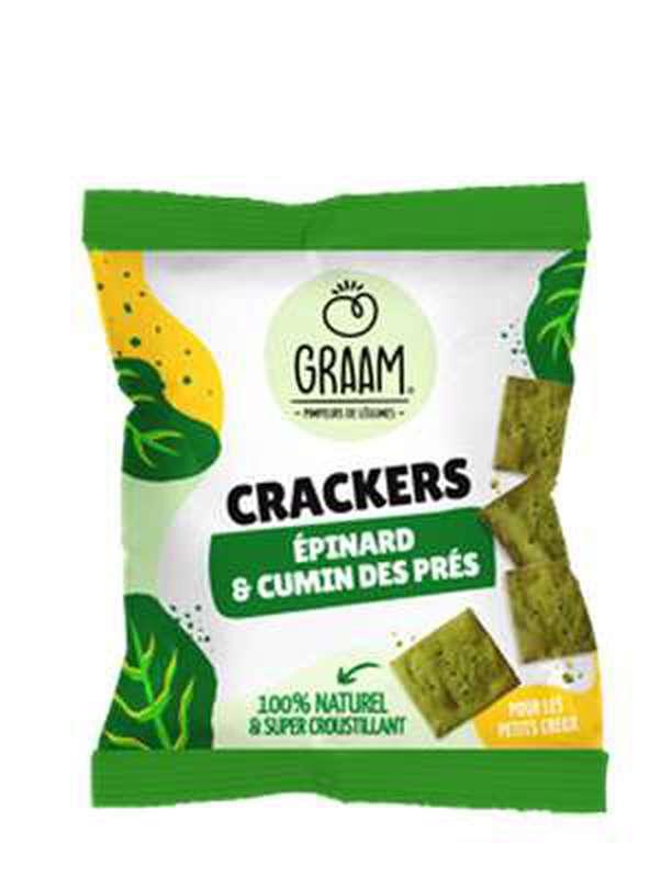 Echantillon gratuit de Crackers Epinard et Cumin des Prés Vegan et Sans Gluten, Graam (30 g)