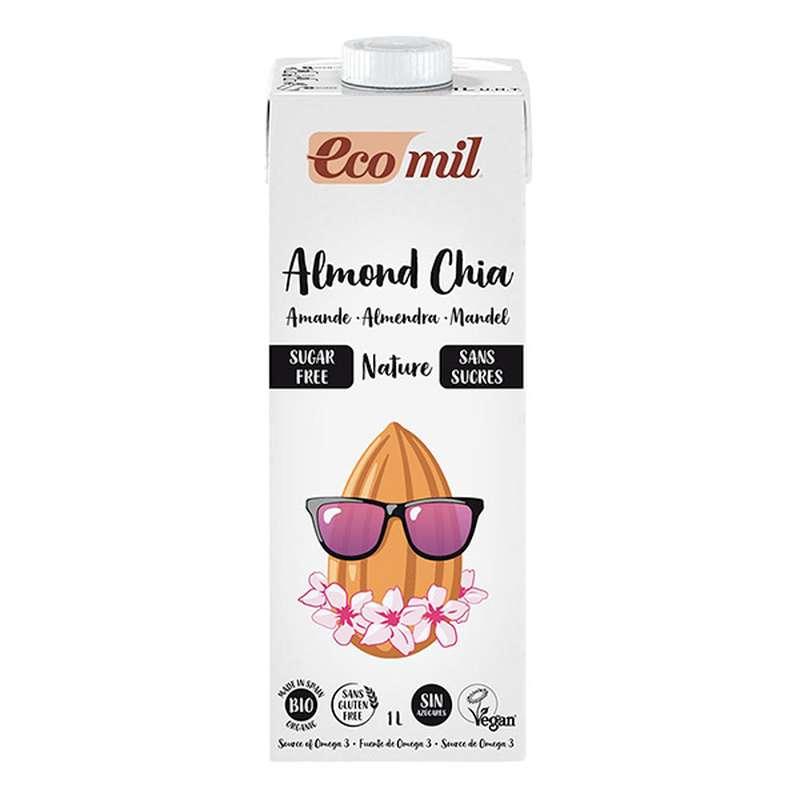 Lait d'amande sans sucre avec chia BIO, Ecomil (1 L)