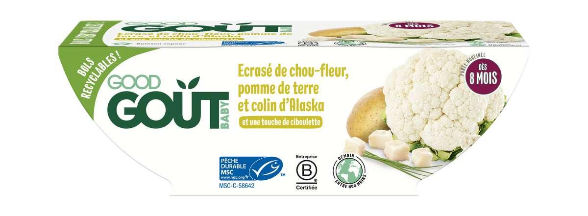 Écrasé de chou-fleur, pomme de terre et colin d'Alaska BIO - dès 8 mois, Good Goût (2 x 190 g)