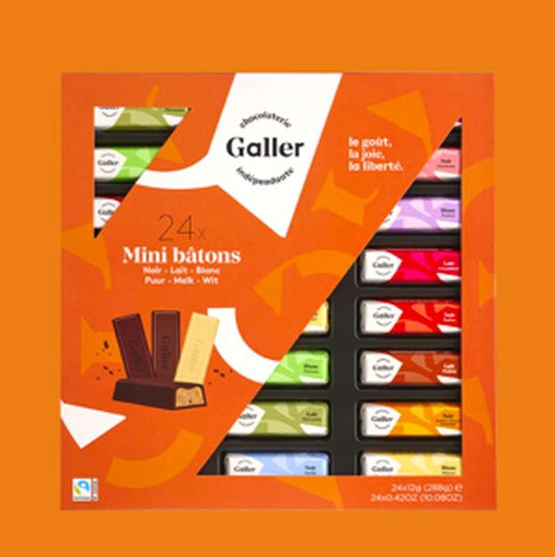 Ecrin 24 mini-bâtons assortiment noir et lait, Chocolat Galler (288 g)
