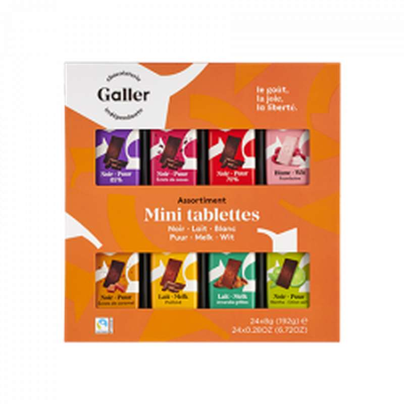 Ecrin 24 mini-tablettes assortiment noir, Chocolat Galler (192 g)