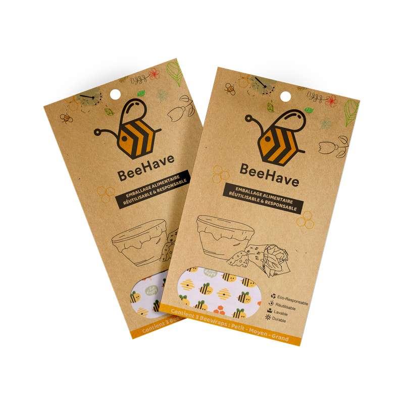 Emballage alimentaire réutilisable Bee Wrap - Abeilles, Behave Bio (x 3, tailles S, M et L)