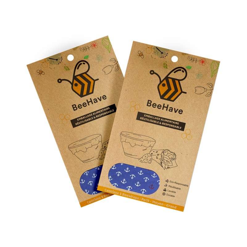Emballage alimentaire réutilisable Bee Wrap - Ancres marines, Behave Bio (x 3, tailles S, M et L)