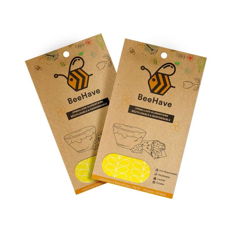 Emballage alimentaire réutilisable Bee Wrap - Feuillages jaunes, Behave Bio (x 3, tailles S, M et L)