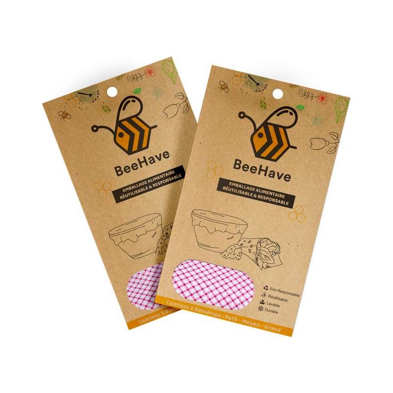 Emballage alimentaire réutilisable Bee Wrap - Pique-Nique, Behave Bio (x 3, tailles S, M et L)