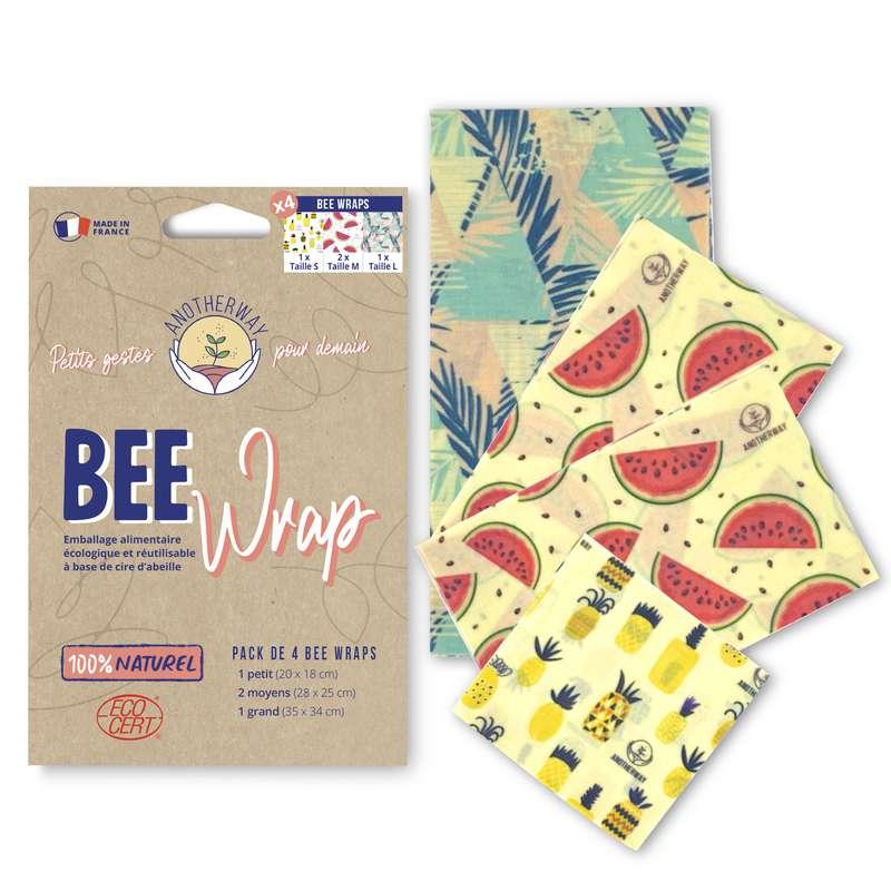 Emballage alimentaire réutilisable Bee Wrap - Original, Anotherway (x 4, tailles S, 2xM et L)
