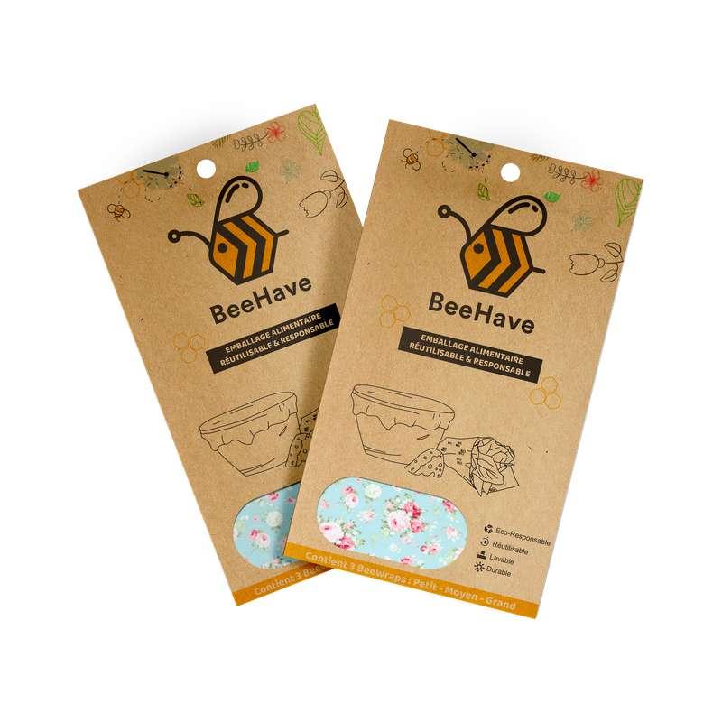 Emballage alimentaire réutilisable Bee Wrap - Roses, Behave Bio (x 3, tailles S, M et L)