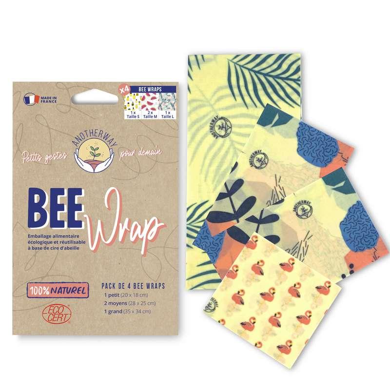 Emballage alimentaire réutilisable Bee Wrap - Tropical, Anotherway (x 4, tailles S, 2xM et L)