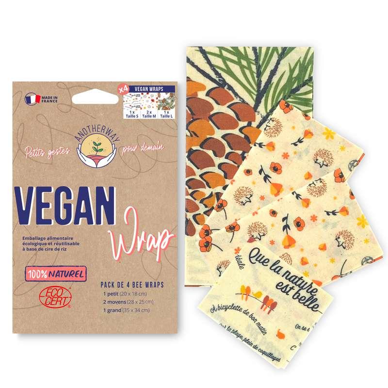 Emballage alimentaire réutilisable Bee Wrap - Vegan, Anotherway (x 4, tailles S, 2xM et L)