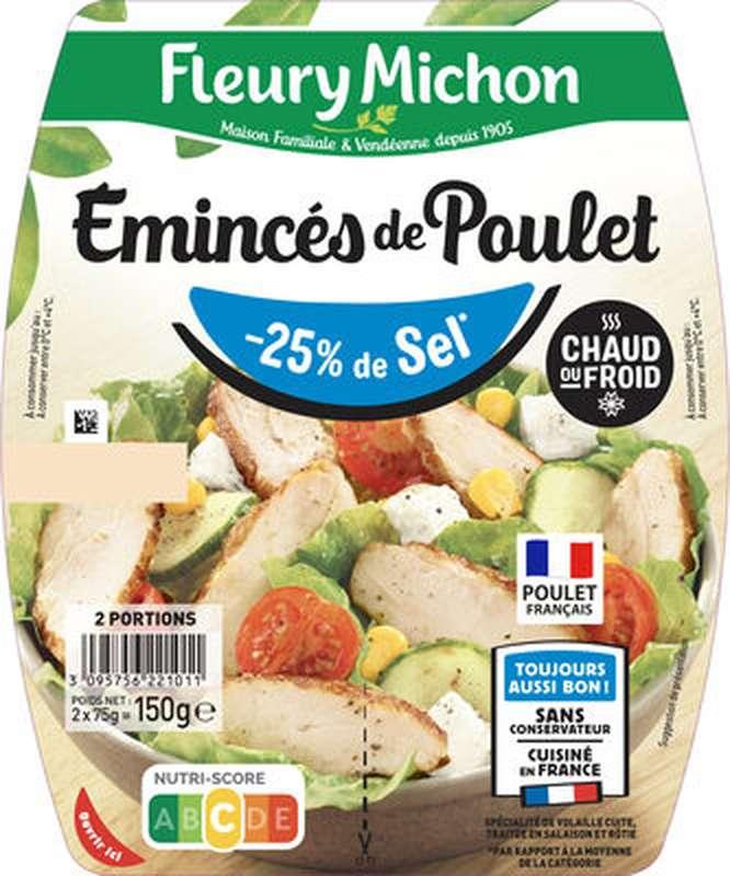 Emincés de poulet -25% de Sel, Fleury Michon  (2 x 75 g)