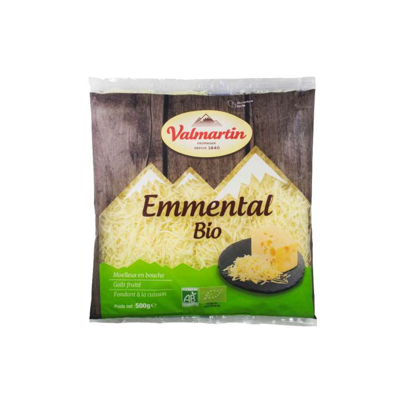 Emmental râpé BIO, Valmartin (500 g)