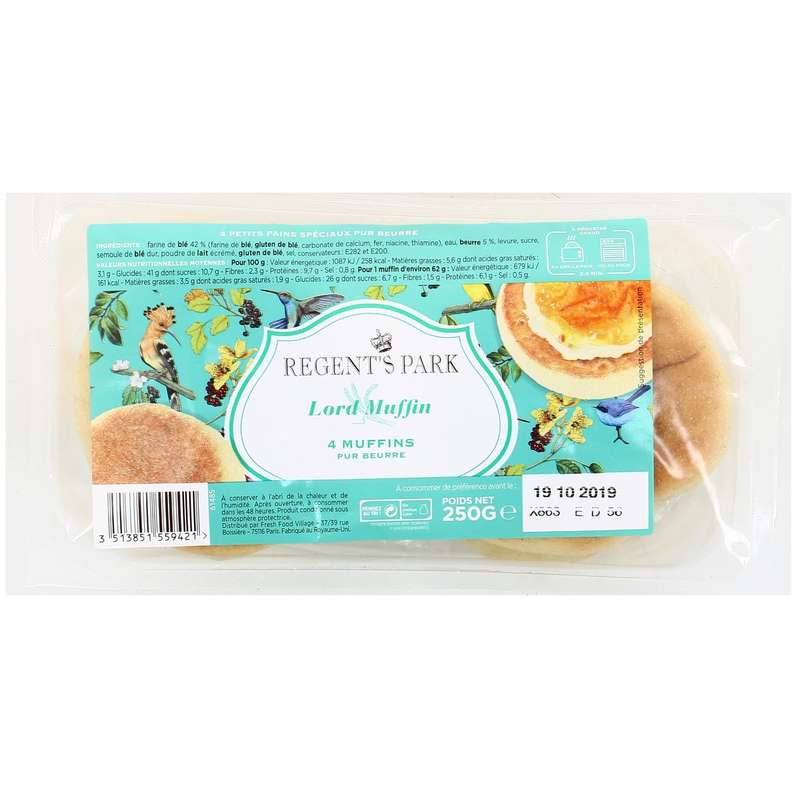 English Muffins nature pur beurre, Regent's Park (x 4, 250 g)