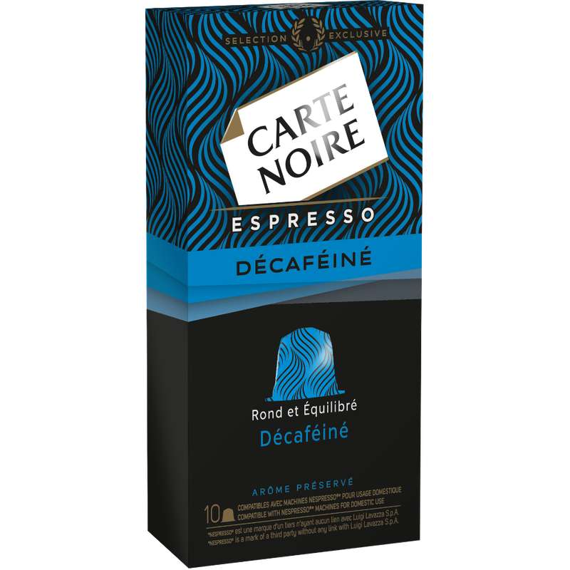 Café capsule espresso décaféiné, Carte Noire (x 10)