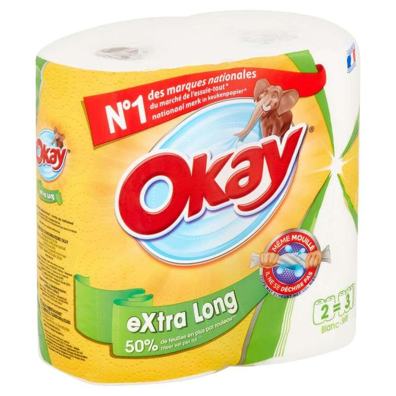Essuie-tout blanc extra long, Okay (x 2 = 3 rouleaux)