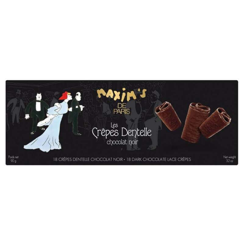 Étui 18 crêpes dentelles chocolat noir, Maxim's (90 g)