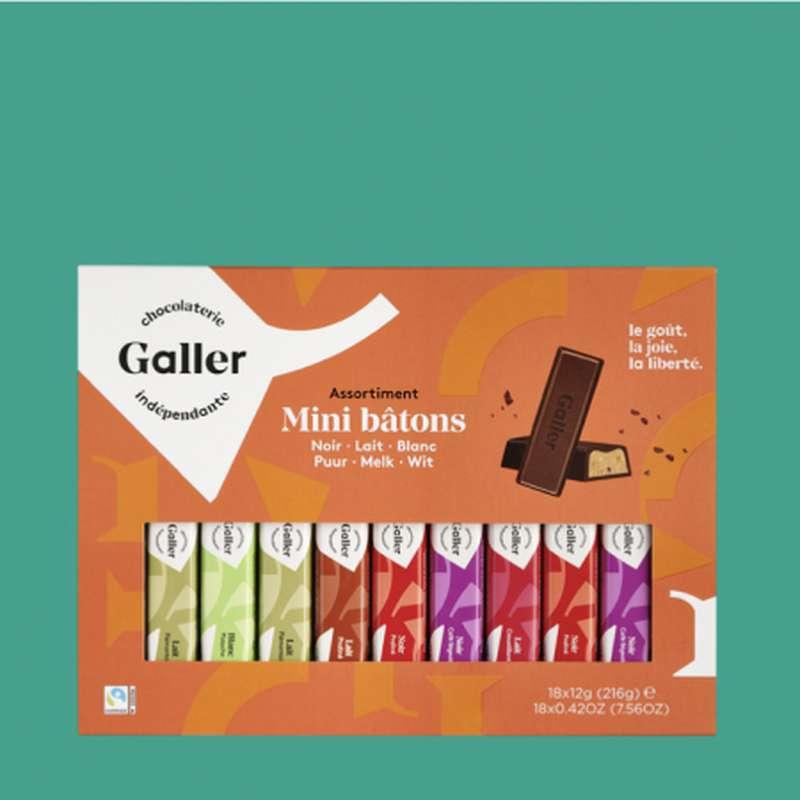 Etui 18 mini-bâtons assortiment noir et lait, Chocolat Galler (216 g)
