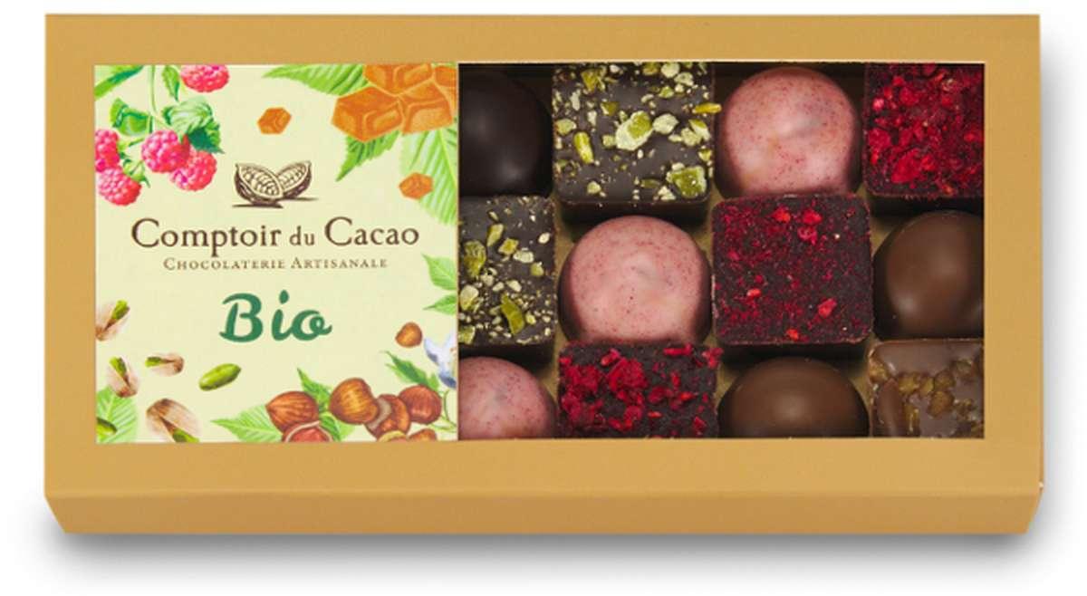 Etui assortiment praliné feuilletés BIO, Comptoir Cacao (162 g)