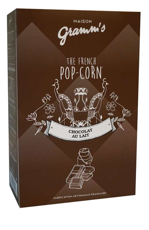 Étui de Pop-Corn caramel enrobé de chocolat au lait, Maison Gramm's (100 g)