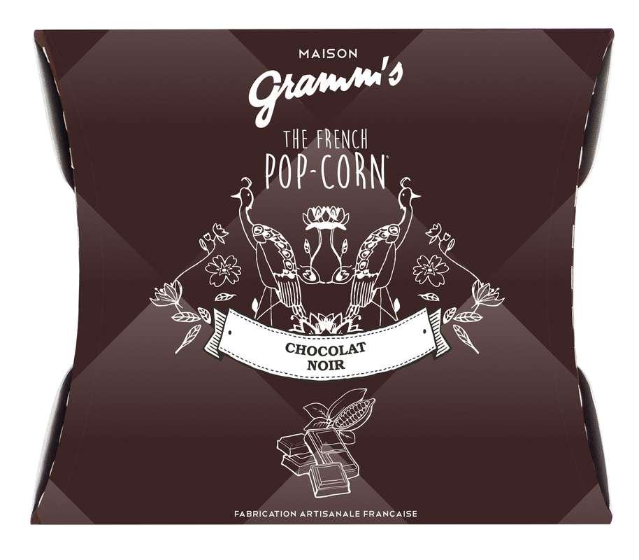 Étui de Pop-Corn caramel enrobé de chocolat noir, Maison Gramm's (30 g)