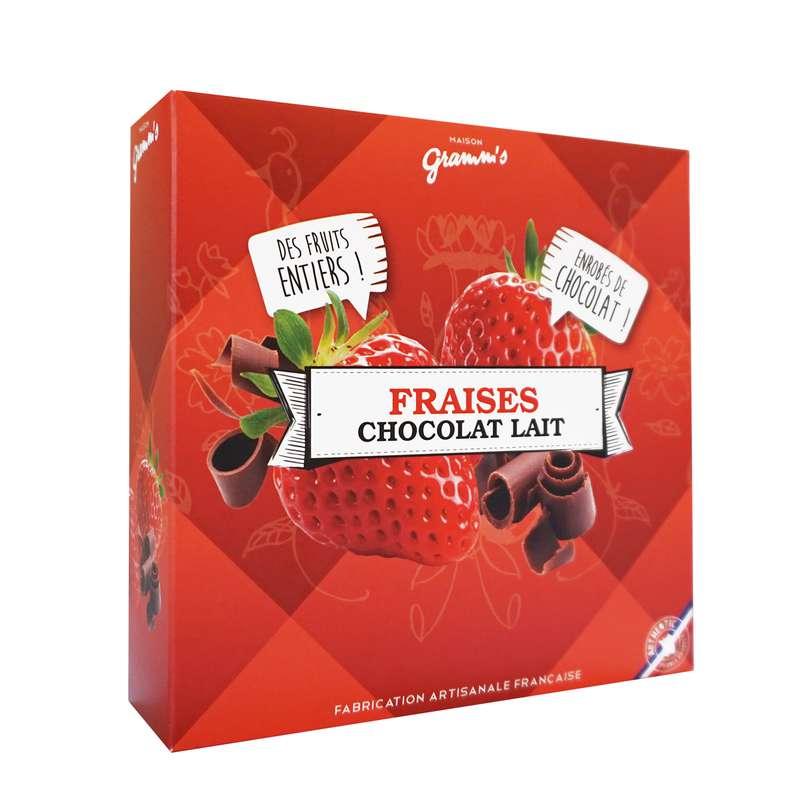 Étui de fraises entières enrobées de chocolat lait, Maison Gramm's (50 g)