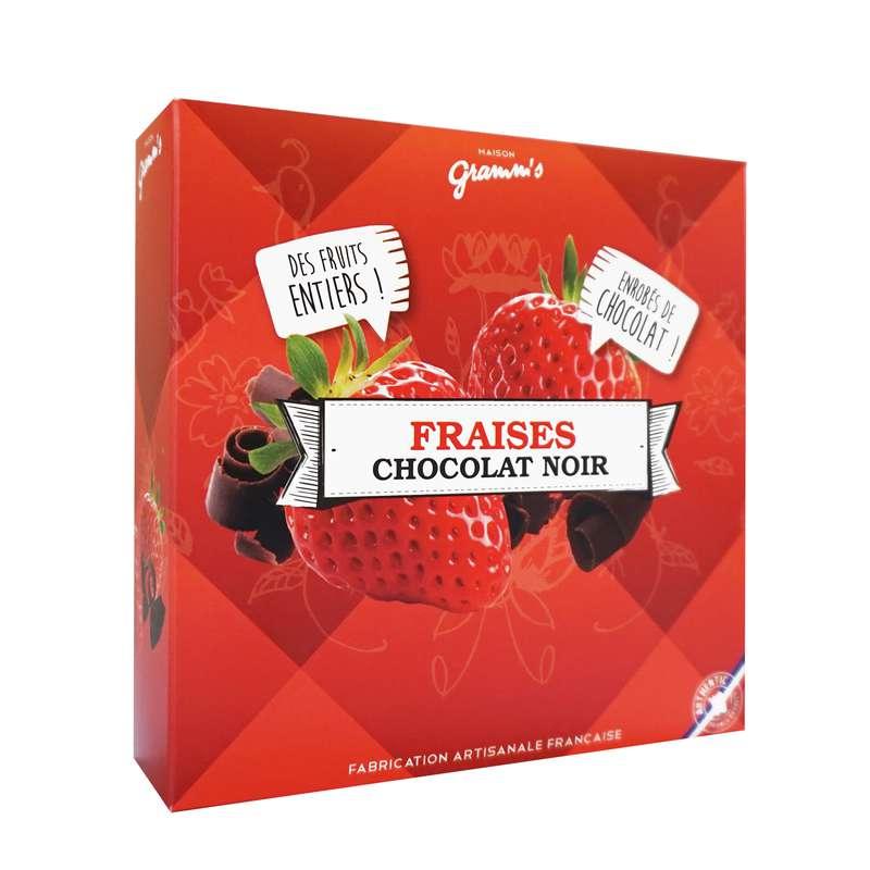 Étui de fraises entières enrobées de chocolat noir, Maison Gramm's (50 g)