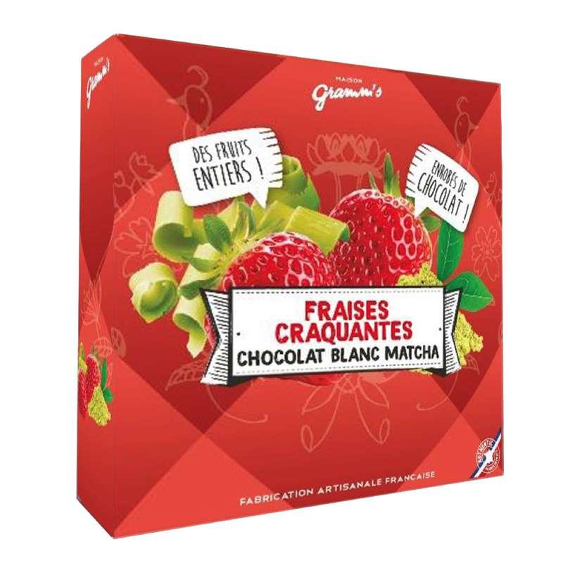 Étui de fraises entières enrobées de Thé vert Matcha, Maison Gramm's (50 g)