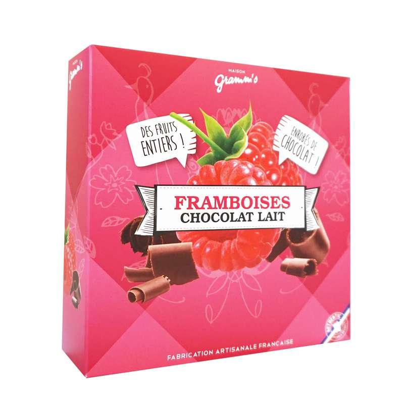 Étui de framboises entières enrobées de chocolat lait, Maison Gramm's (50 g)