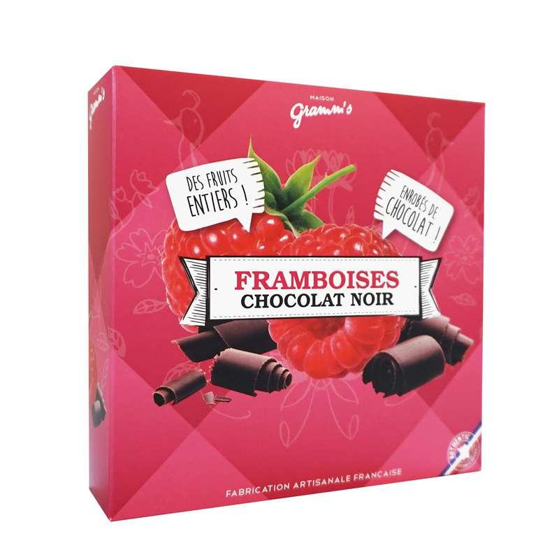 Étui de framboises entières enrobées de chocolat noir, Maison Gramm's (50 g)
