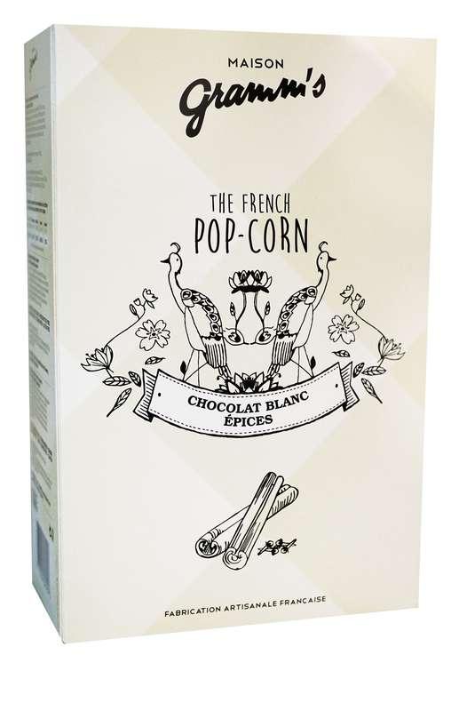 Étui de Pop-Corn caramel enrobé chocolat blanc aux épices, Maison Gramm's (100 g)