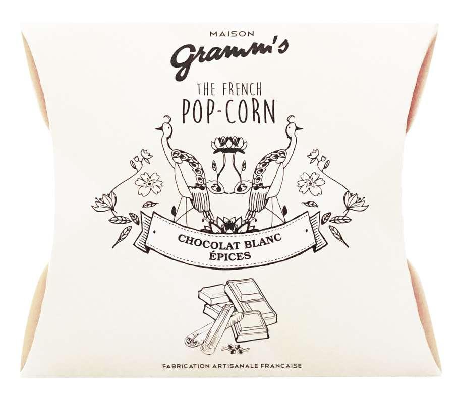 Étui de Pop-Corn caramel enrobé chocolat blanc aux épices, Maison Gramm's (30 g)