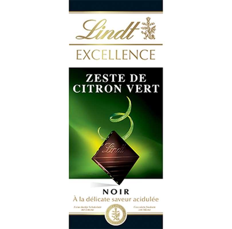 Chocolat noir au zeste de citron vert, Lindt (100 g)