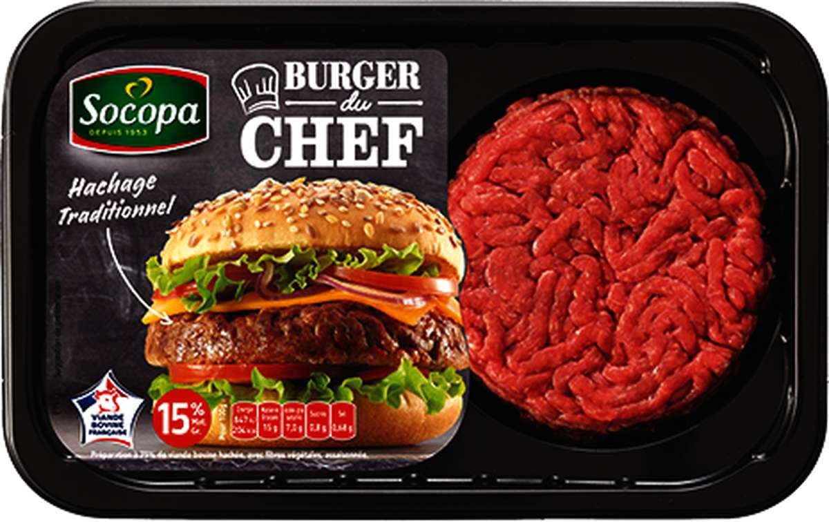 Burger du Chef nature 15% de MG, Socopa (x 2, 250 g)