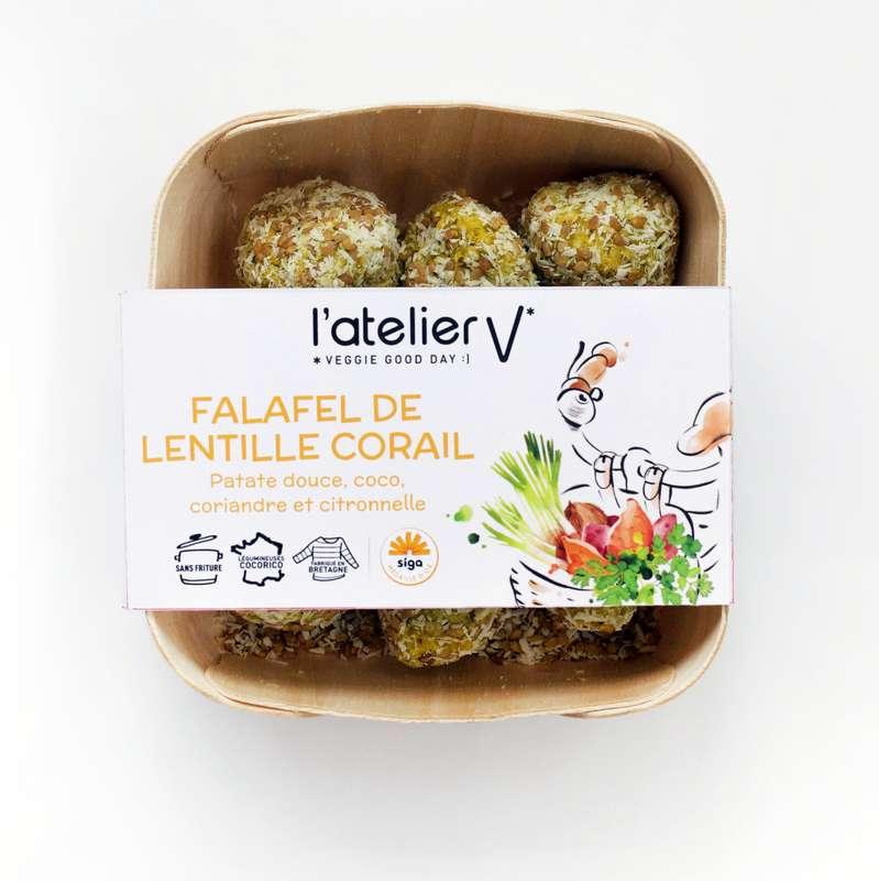 Falafels de lentilles corail, patate douce, coco, coriandre, curry et citronelle BIO, L'Atelier V (135 g)