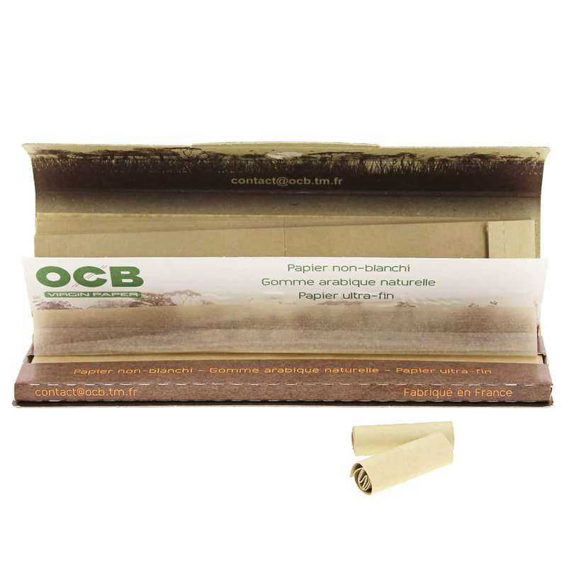 Feuilles à rouler large non-blanchies avec carton Slim Virgin & Tips, OCB (x32) (calibre moyen)