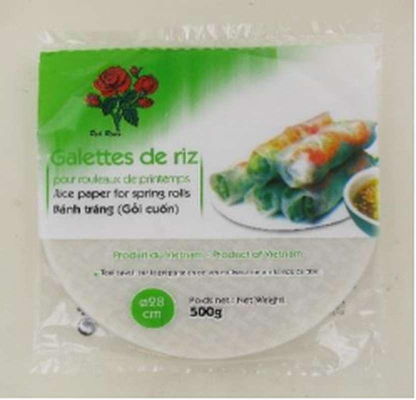 Feuilles de riz pour rouleaux de printemps 28 cm, Red Roses (500 g)
