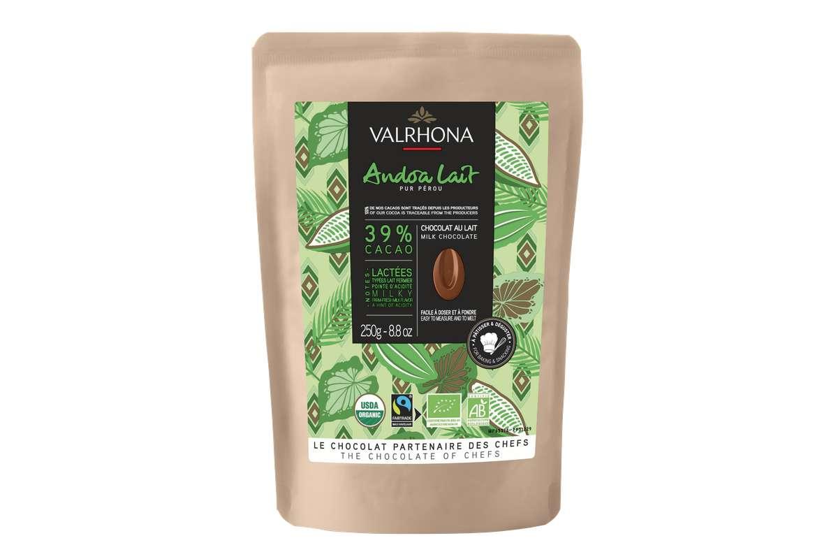 Fèves de chocolat Andoa Lait 39% BIO, Valrhona (250 g)