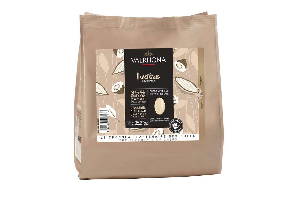 Fèves de chocolat Ivoire 35%, Valrhona (1 Kg)